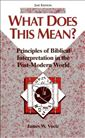 What Does This Mean?: Principles of Biblical Interpretation in the Post-Modern World