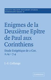 Enigmes de la Deuxieme Epitre de Paul aux Corinthiens
